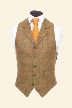 Amber Multicheck Vintage Shetland Tweed Patrick Waistcoat - Tweed Suit Waistcoats - Clothing - Mens Walker Slater Tweed Specialists