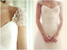 Pearl cap sleeve wedding gown