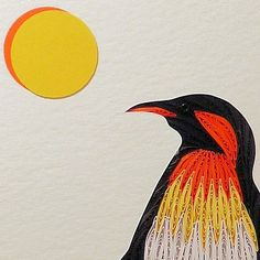Quilled Penguin and Baby original framed handcrafted wall art | QuillingbySandraWhite - Children's on ArtFire