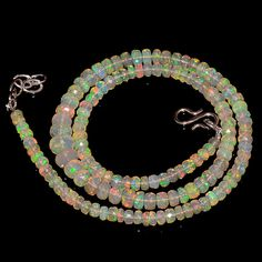"""55CRTS 4to7MM 18"""" ETHIOPIAN OPAL FACETED RONDELLE BEADS NECKLACE OBI2123 #OPALBEADSINDIA"""