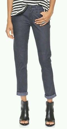 NWT Current / Elliott Faded Black Feather Leather Pants sz 24 RETAIL $798 #CurrentElliott #Leather