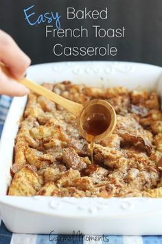 Easy Baked French Toast Casserole- Delicious recipe for breakfast. Simple and amazing! // @gatherforbread