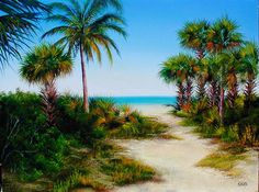 Oil painting of Cayo Costa State Park in Florida