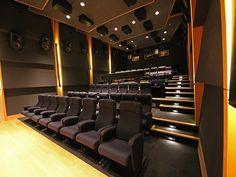 In addition to working as a small cinema, it doubles as a mixing stage. - Page 2 Home Theater Room Design, Home Theater Rooms, Theatre Design, Basement Bar Designs, Home Bar Designs, Basement Ideas, Basement Movie Room, Dolby Atmos, Basement Renovations