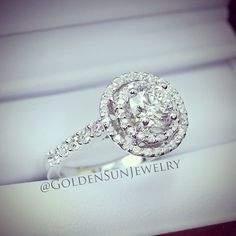 GOLDEN SUN JEWELRY: An elegant diamond engagement ring. A 1.02ct. Round brilliant cut diamond in a double halo setting. Beautiful. @goldensunjewelry #goldensunjewelry #wedding #engagement #engaged #engagementring #ring #solitaire #diamonds #diamondring #flawless #fashion #fashionista #designer #detroit #gia #certified #couture #bespoke #jewelry #luxury #lavish #bride #bridal #marriage #married #estate #bling