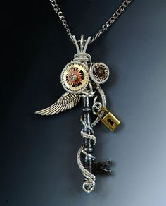 Steampunk Skeleton Key Necklace wire wrapped by JewelryFusion, $55.00