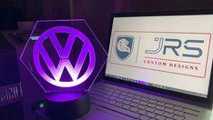 Engraved LED light on 4mm Acrylic. | Etsy Slide Design, Volkswagen Logo, Name Design, Good Communication, Custom Design, Light Up, Colours, Vw Conversions, Led