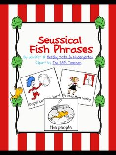 Here's a sample of my Seussical Fish Fry Phrases! This sample has 24 cards - 18 have a Fry's List phrase on them while the other 6 are