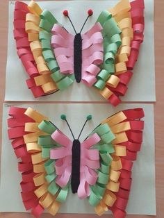 Love this butterfly made with paper strips! Art Projects for craft paper art - Paper Crafts Origami Butterfly, Butterfly Crafts, Butterfly Art, Rainbow Butterfly, Valentine Crafts For Kids, Summer Crafts, Easter Crafts, Preschool Crafts, Fun Crafts