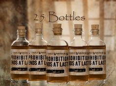 25 Prohibition Cork Glass Bottles for Wedding by thehairofthedog. , via Etsy.