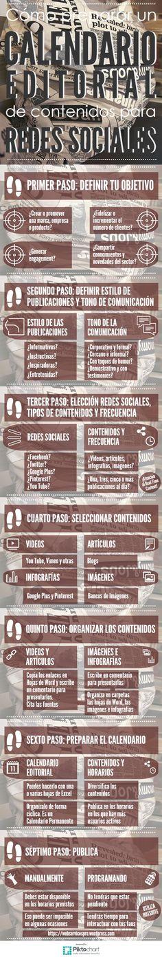 Cómo preparar un calendario editorial pera las Redes Sociales #infografia