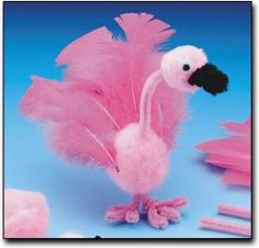 Flamingo craft. I imagine pink styrofoam balls, pink feathers, pink pipe cleaners and googly eyes