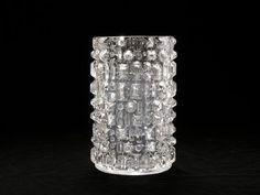 Vintage Czech Op Art Tall Clear Glass Vase Mid by BetterLookBack