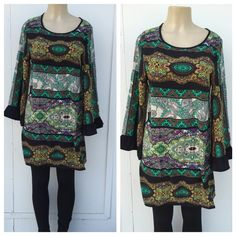 Bohemian print Tunic top Beautiful tunic too in black . Looks great with leggings as pictured . Leggings not included . Priced to sell . Measurements lying flat 📌Armpit to armpit :18.5 waist :18 Hips : 21 length : 34 sleeves :22. Tops Tunics