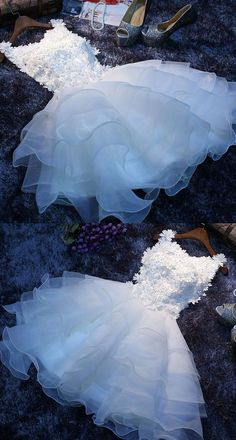 Ball Gown Bateau Short Tiered White Organza Homecoming Dress with Appliques