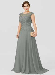 A-Line Illusion Neck Sweep / Brush Train Chiffon / Beaded Lace Short Sleeve Plus Size / Elegant Mother of the Bride Dress with Bow(s) / Pleats 2020 2020 - US $146.99 Bridesmaid Dresses Plus Size, Plus Size Dresses, Wedding Dresses, Mother Of The Bride Gown, Mother Of Groom Dresses, Beaded Chiffon, Beaded Lace, Stylish Dresses For Girls, Mom Dress