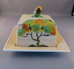 Rare-Carlton-Ware-Oak-Tree-Butter-Dish