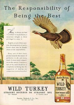 Here's a great classic Wild Turkey Bourbon advertisement from 1959.