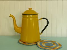 NICE Vintage Yellow Enamel Coffee Tea Pot Kettle, Steel - Vintage Travel Travel Trailer and Home Decor on Etsy, $40.00