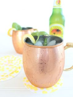 Peach Basil Moscow Mule: Spruce up a basic Moscow Mule recipe with peach-flavored vodka, and don't forget the freshbasil garnish!