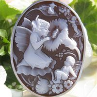 [flower fairy of the flower garden] Antonio Coto product shell cameo K18WG pendant broach