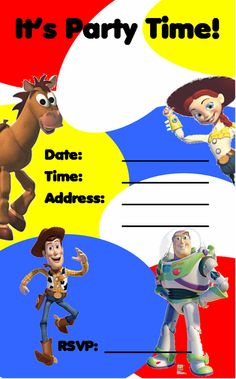 FREE Kids Party Invitations Toy Story Party Invitation NEW A
