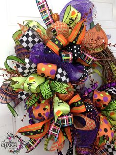 Deco Mesh HALLOWEEN Ribbon Wreath Purple by SouthernCharmWreaths
