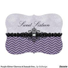 Purple Glitter Chevron & Damask Sweet16 Invitation Matching products in the GoDesign store! Custom birthday party invitations / invites #invitations #invites #birthdayparty  #sweetsixteen #sweet16