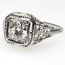 Old European Cut Diamond Filigree Antique Art Deco Engagement Ring Solid 18K White Gold