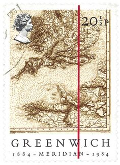 INGLATERRA, 1984 Mapa de Inglaterra y Francia, la línea roja muestra el meridiano de Greenwich.