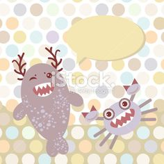 Polka dot background, pattern. Funny cute monsters Royalty Free Stock Vector Art Illustration
