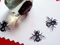 Tiny Bee Rubber Stamp - Handmade rubber stamps by BlossomStamps. $3.75, via Etsy.