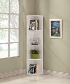 Home Office Furniture Great for White Finish Wood Wall Corner Bookshelf Bookcase Home Office White Corner Bookcase, Corner Bookshelves, Book Shelves, White Office Furniture, Home Decor Furniture, Apartment Furniture, Paint Furniture, Plywood Furniture, Corner Shelf Design