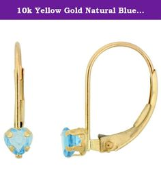 10k Yellow Gold Natural Blue Topaz Leverback Earrings 4mm Heart Shape 0.50 ct, 9/16 inch. Simplicity of design has nothing to do with cost, and everything to do to bringing out and highlighting the natural beauty of things, and in this case a beautiful matched pair of genuine gemstones. To highlight your mood, match the color of your eyes or your outfit, or just simply to be your birthstones. These earrings are 10 karat gold. There are no earring backs to lose or fuss with, and there are…