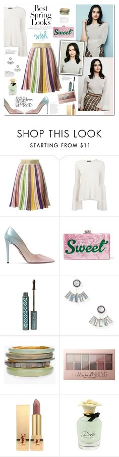 """""""Camila Mendes"""" by mery90 ❤ liked on Polyvore featuring H&M, Missoni, The Row, Prada, Edie Parker, Aéropostale, Chico's, Maybelline, Yves Saint Laurent and Dolce&Gabbana"""