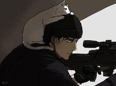 Akai-san avec un sniper Anime Style, Gosho Aoyama, Kaito Kid, Detektif Conan, Vida Real, Magic Kaito, Case Closed, Subaru, The Magicians