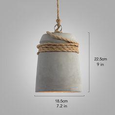 Concrete Cord wrapped Monolith Minimalist Pendant Light