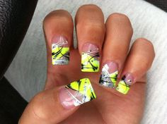 Nail Art by Lonnie Nguyen ~ the lady wanted something for the Casino that would stand out, I think it is very Vegas baby! by graciela Nails Opi, Neon Nails, Love Nails, Pretty Nails, My Nails, Neon Nail Designs, French Nail Designs, Acrylic Nail Designs, Acrylic Nails