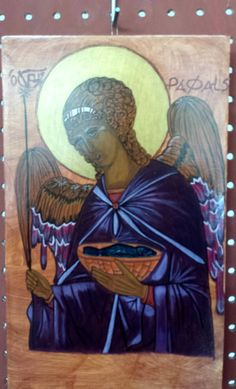 ICON - Angel Raphael Iconogapher: Lisa Winner Painted on solid wood with acrylic paints. Solid Wood, Angels, Spirituality, Painting, Etsy, Art, Art Background, Angel, Painting Art