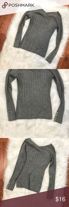 WHBM Grey Double V Neck Ribbed Top Long Sleeve Sweater/Top From White House Black Market - Size Small - Grey  - Ribbed with Rivets on Sleeve - Double V Neck  - EUC  - Armpit to Armpit 15 - Length 23 All Measurements Are Approx. May Vary White House Black Market Tops Tunics