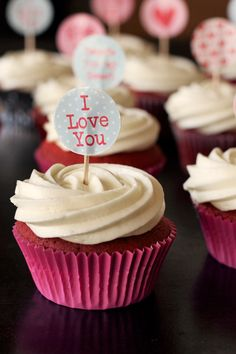 Share the love372973201I don't really celebrate Valentine's Day, however I do love receiving gifts AND kitschy baking so I can't complain. I found the most gorgeous Valentine's Day cake toppers months ago and have been dying to bust them out. I pimped out my standard red velvet cupcake recipeby adding a white chocolate cream cheese icing (heaven, I can assure you) and putting a little surprise inside each cupcake… I love you! Sweets for my sweet And what is the …