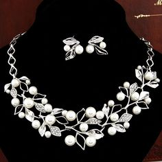Choker Necklace Wedding Necklaces Earrings for Women imitation Pearl Necklace Stud Earrings Foliage Silver Plated Jewelry Sets-in Jewelry Sets from Jewelry & Accessories on Aliexpress.com | Alibaba Group