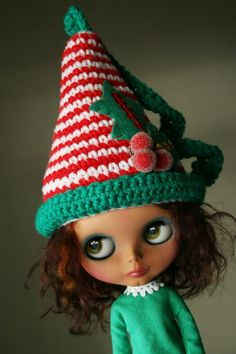 Cute Elf Christmas Hat for Blythe  Crochet  Merry Holly by elifins, $18.00