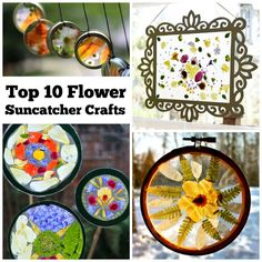 Making flower suncatcher crafts is a fun nature art activity for the whole family and a great way to add a splash of color to any view. Try any one of these ideas or find inspiration to create your own design. Using real flowers provides a rich sensory experience for the developing child. They are so easy even a toddler can make one!