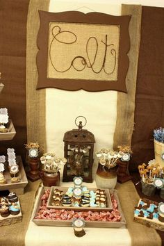 Western Cowboy Baby Shower in Brown, Beige, and Aqua | CatchMyParty.com