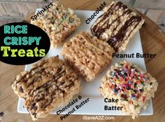 Rice Crispy Treat Recipes with a twist!  Now that we've had them this way we won't ever do the boring ones again.  KIDS LOVED THEM!