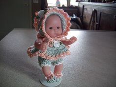 """Berenguer 5"""" Baby Dolls - Peach and green babydoll dress #44  More can be seen on Pinterest under Jana Langley Berenguer 5"""" Berenguer Dolls with crocheted outfits"""