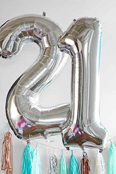 Silver Number 34 Inch Party Balloon