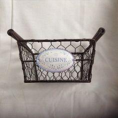 French Wire Work Basket Cuisine Enamelware by AlfiejayneVintage, €20.00