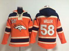 Denver Broncos  58 Von Miller Orange Sawyer Hooded Sweatshirt NFL Hoodie f65ea27fe